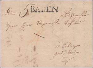 Baden Vorphilatelie Faltbrief Einzeiler BADEN an Bürgermeister in Tübingen 1830
