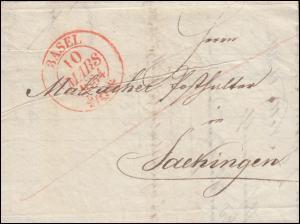 Schweiz Vorphila Faltbrief BASEL 10.3.1834 an Posthalter Malzacher Saekingen