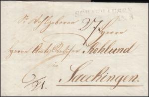 Schweiz Vorphilatelie Faltbrief SCHAFHAUSEN 11.6.1838 nach Saeckingen