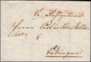 Baden Vorphilatelie Faltbrief KLEINLAUFENBURG nach Säckingen 12.2.1842