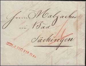 Vorphilatelie Faltbrief geschrieben Sulzbach März 1825: MÜLLHEIM R1 n. Säckingen