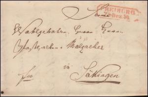 Baden Vorphilatelie Faltbief FREIBURG 29.12.1850 nach Säckingen