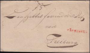 Baden Vorphilatelie Faltbief SÄCKINGEN nach FREIBURG Juli 1848