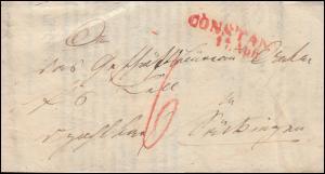 Baden Vorphilatelie Faltbrief Zahlungsbefehl CONSTANZ 17.4.1856 nach Tübingen