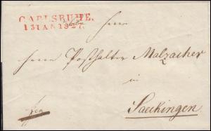 Baden Vorphilatelie Faltbrief CARLSRUHE 13.1.1827 nach Saeckingen