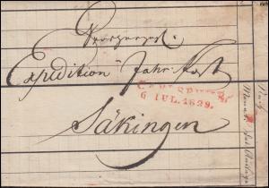 Baden Vorphilatelie Faltbrief Zweizeiler CARLSRUHE 6.7.1829 nach Säkingen