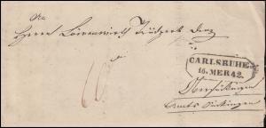 Baden Vorphilatelie Faltbrief-Vordruck Verwaltungsrat CARLSRUHE 16.3.1842