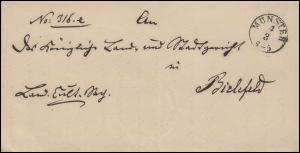 Preußen Briefhülle Einkreisstempel MÜNSTER 4.3. nach BIELEFELD 5.3., um 1865