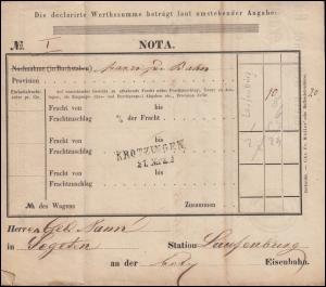 Baden Verein Deutscher Eisenbahn-Verwaltungen Frachtbrief Staufen 24.3.1858