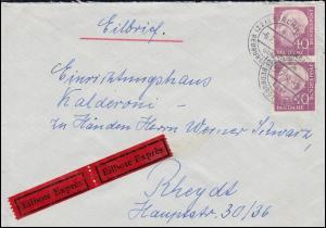 Bahnpost DÜSSELDORF-DÜREN ZUG 1843 - 6.7.56 Eil-Bf. 188x MeF KIRCHHERTEN 6.7.56