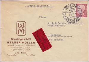 Bahnpost Hamburg-Lübeck und Duisburg-M.Gladbach Eil-Bf.192x EF SSt EUTIN 7.9.56