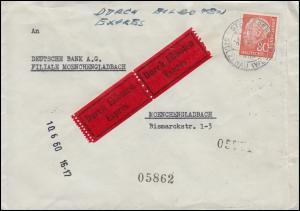 Bahnpost HANNOVER-BREMEN ZUG 178 - 9.6.60 Eil-Brief mit 264x STEYERBERG 9.6.1960