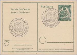 Postkarte P 27 Tag der Briefmarke als Blanko-FDC mit ESSt BERLIN T.d.B. 28.10.51
