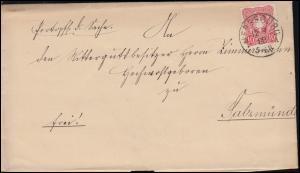 41 Adler 10 Pfennig EF Brief MERSEBURG 12.9.1888 nach SALZMÜNDE 13.9.88