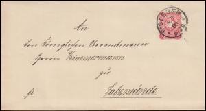 41 Adler 10 Pfennig EF Brief EISLEBEN 6.3.1888 nach SALZMÜNDE 7.3.88