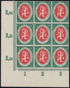 110II Nationalversammlung Eck-9er-Block mit PLF I 1019 statt 1919, Feld 73 **