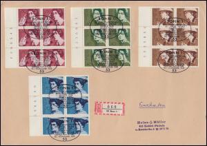 826-829 Frauen-Satz als Rand-6er-Blöcke mit BZN Groß-R-FDC ESSt BONN 15.1.75