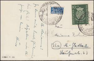 121 Bach 10 Pf mit Notopfer EF Glückwunschkarte SSt HÖCHENSCHWAND Kurort 1950