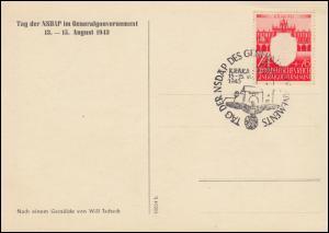 Generalgouvernement 106 NSDAP 24 Pf auf FDC-Ansichtskarte ESSt Krakau 13.8.1943