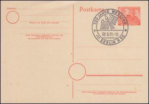 Postkarte P 4 Stadtbilder 8 Pf. SSt BERLIN 100 Jahre Wedding 2.6.1951