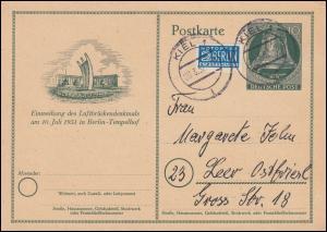 P 24 Luftbrückendenkmal mit Notopfer von KIEL 20.3.52 nach Leer
