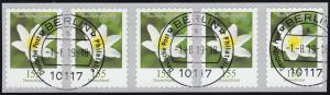 3484 Buschwindröschen 155 Cent sk aus 500er 5er-Streifen, waager. ger. Nr., ET-O