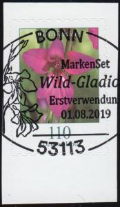 3489 Blume Wild-Gladiole, selbstklebend aus FB 92, EV-O BONN 1.8.2019