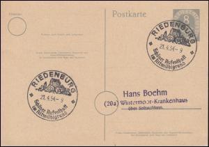 Postkarte P 11II Posthorn 8 Pf SSt RIEDENBURG Aufenthalt im Altmühlgrund 21.4.54