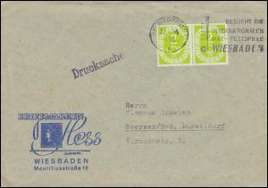 123 Posthorn im Paar als MeF auf  Drucksache Briefmarken Hess WIESBADEN 27.4.54