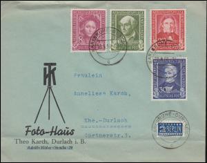 117-120 Wohlfahrt 1949 komplett als Satz-Orts-Brief KARLSRUHE 19.8.50