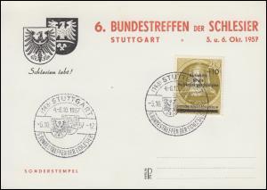Sonderpostkarte 6. Bundestreffen der Schlesier passender SSt. STUTTGART 6.10.57