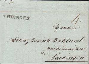 Baden Faltbrief Einzeiler THIENGEN nach Säckingen, geschrieben 12.12.1840