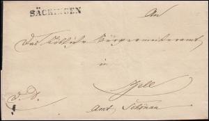 Baden Vorphilatelie Faltbrief Einzeiler SÄCKINGEN 1840 nach Zell Amt Schönau