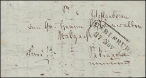 Baden Vorphilatelie Faltbrief CARLSRUHE 27.11.1843 nach Säckingen