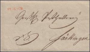 Baden Vorphilatelie Briefhülle Einzeiler STOKACH nach Säckingen, um 1860