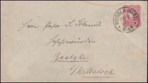 Ganzsache 10 Pf. Adler Brief ROSSLA (HARZ) 22.7.1887 nach Saatzke / Wittstock