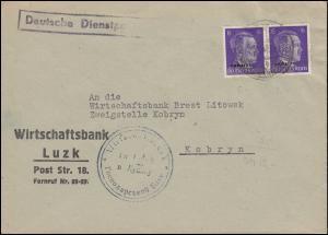 Deutsche Dienstpost Ukraine 5 Aufdruck 6 Pf. MeF Brief Wirtschaftsbank LUZK