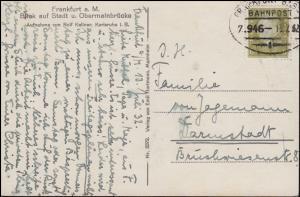 Bahnpost FRANKFURT-BASEL ZUG 946 - 13.7.1932, AK Frankfurt/Main Obermainbrücke