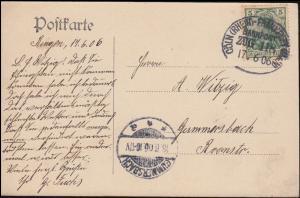Bahnpost CÖLN - FRANKFURT ZUG 118 - 17.6.1906 auf AK Burg Klopp in Bingen