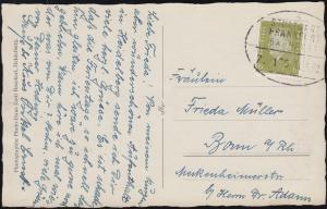 Bahnpost STUTTGART-FRANKFURT/MAIN ZUG 175 - 11.1.1932 auf Foto-AK Elisabethentor