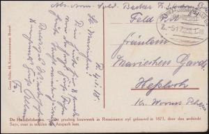 Bahnpost MAINZ-LUDWIGSHAFEN ZUG 517 - 8.1.1918 auf AK Brüssel Börse