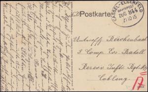 Bahnpost CASSEL-ELBERFELD ZUG 844 -27.10.1915 auf AK Dellwig als Feldpost