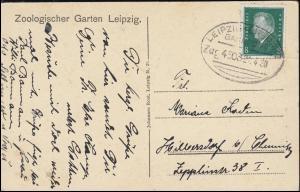 Bahnpost LEIPZIG-CHEMNITZ 4503 - 21.4.1930 auf AK Leipziger Zoo Löwen