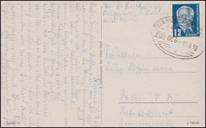 Bahnpost SEEBAD AHLBECK - WOLGAST ZUG 66 -12.8.1953 auf AK Seebad Kölpinsee