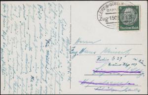 Bahnpost LEIPZIG-DÖBELN-DRESDEN ZUG 1503 - 3.6.1931 auf AK Meißen Burgberg
