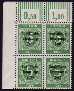 207b SBZ-Aufdruck 5 Pf. seltene Farbe b ER-Vbl. oben links ** geprüft Paul BPP