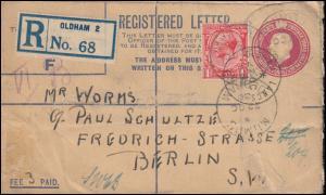 Großbritannien Ganzsachen-Umschlag EU 36A von OLDHAM 22.10.30 nach BERLIN