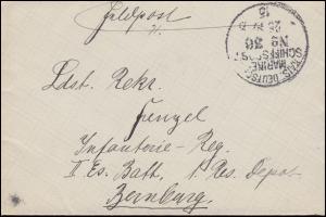 DEUTSCHE MARINE-SCHIFFSPOST No 36 - 1915 auf Feldpost-Brief nach Bernburg