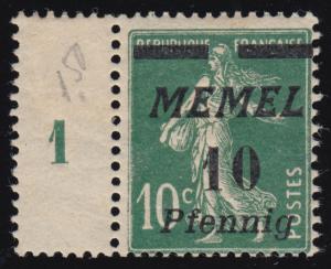 Memel 54b Aufdruckmarke, Haftstellen * dennoch tiefst geprüft Dr. Petersen BPP