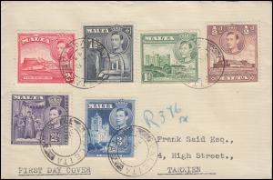 Malta 191-196 Landesmotive mit König Georg VI. 1943, Satz R-FDC VALETTA 8.3.43